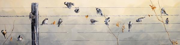 Emily Lozeron, Ode to Joy, Sung by the Chickadee, acrylic, 16 x 60.