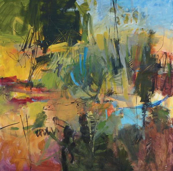 Susan Lucas, Picnic Time, acrylic, 24 x 24.