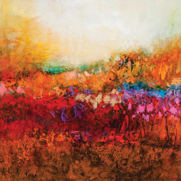 Tracy Lynn Pristas, Attained Enchantment, acrylic/mixed media, 48 x 48.