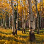 Kevin McCain, Aspens in Fall, oil, 40 x 30.