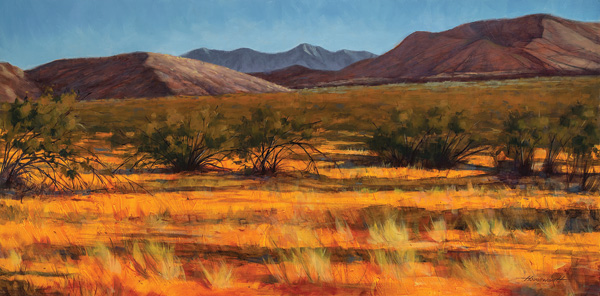 Terry Houseworth, Last Light, oil, 18 x 36.