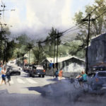 David Savellano, Going Upcountry, watercolor, 12 x 18.
