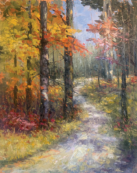 Amos Westmoreland, Whose Woods These Are…, oil, 30 x 24.