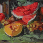 Kaye Franklin, Fruits of Summer, oil, 12 x 16.