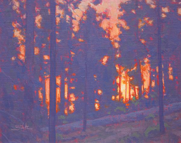 Dan Schultz, Forest Sunset, oil, 11 x 14.