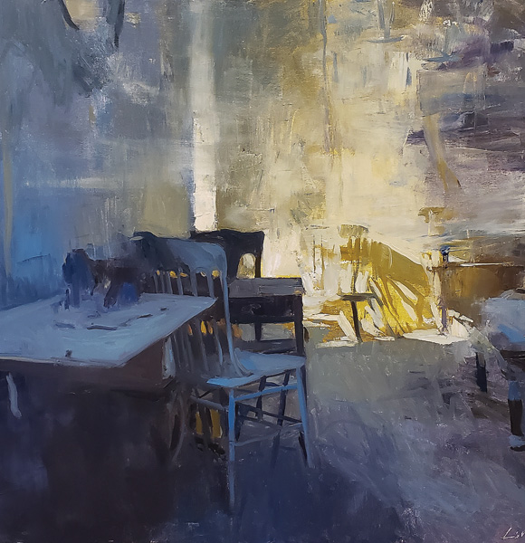 Patrick Lee, Ghost Town Interior, oil, 30 x 30.