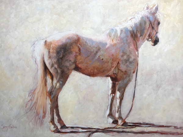 Jenny Buckner, Shades of White, oil, 36 x 48.