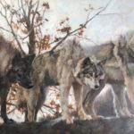 Jenny Buckner, Wolf Pack, oil, 30 x 60.