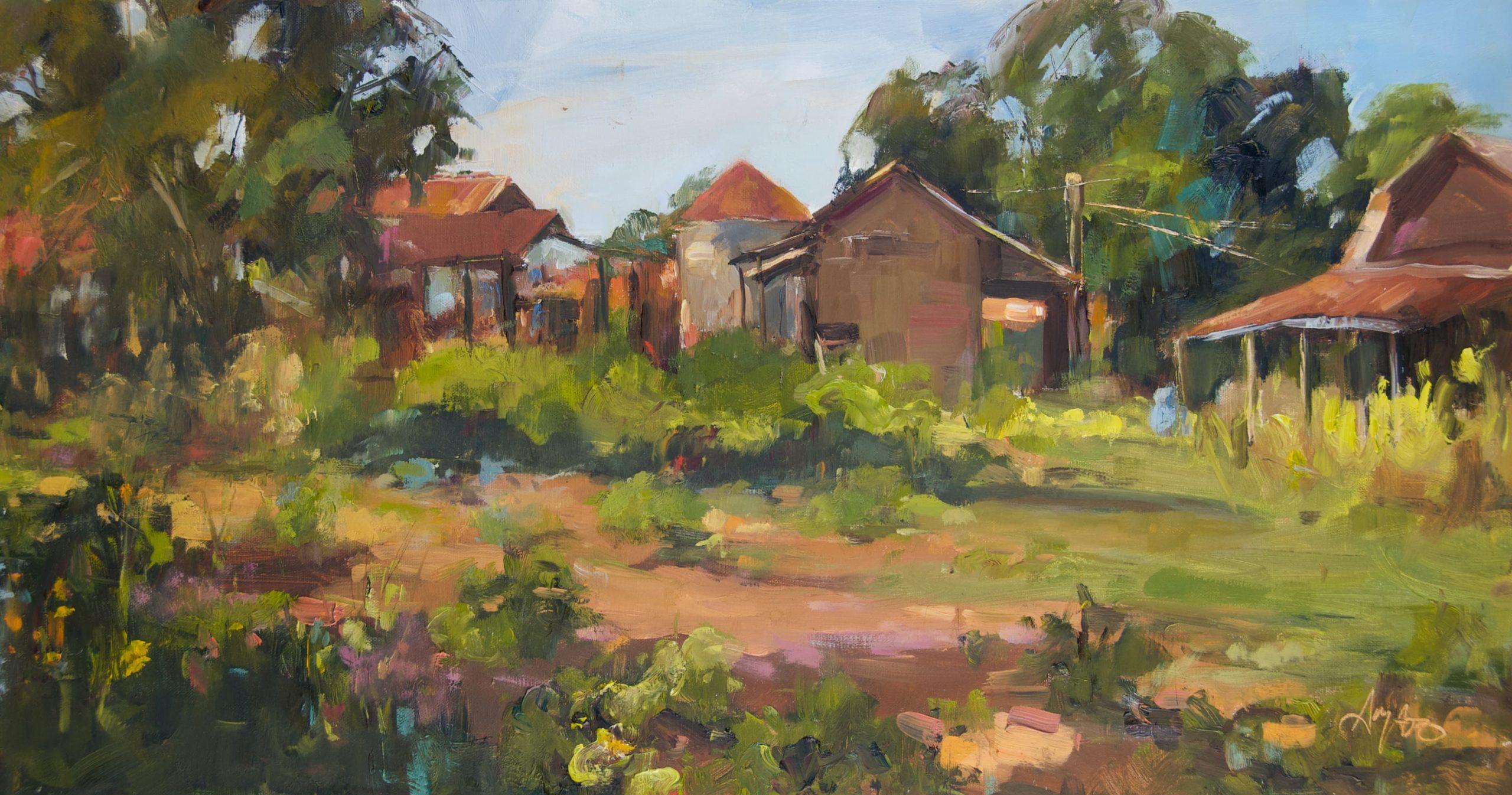 Stephanie Amato, Abandoned Acres, oil, 12 x 24.