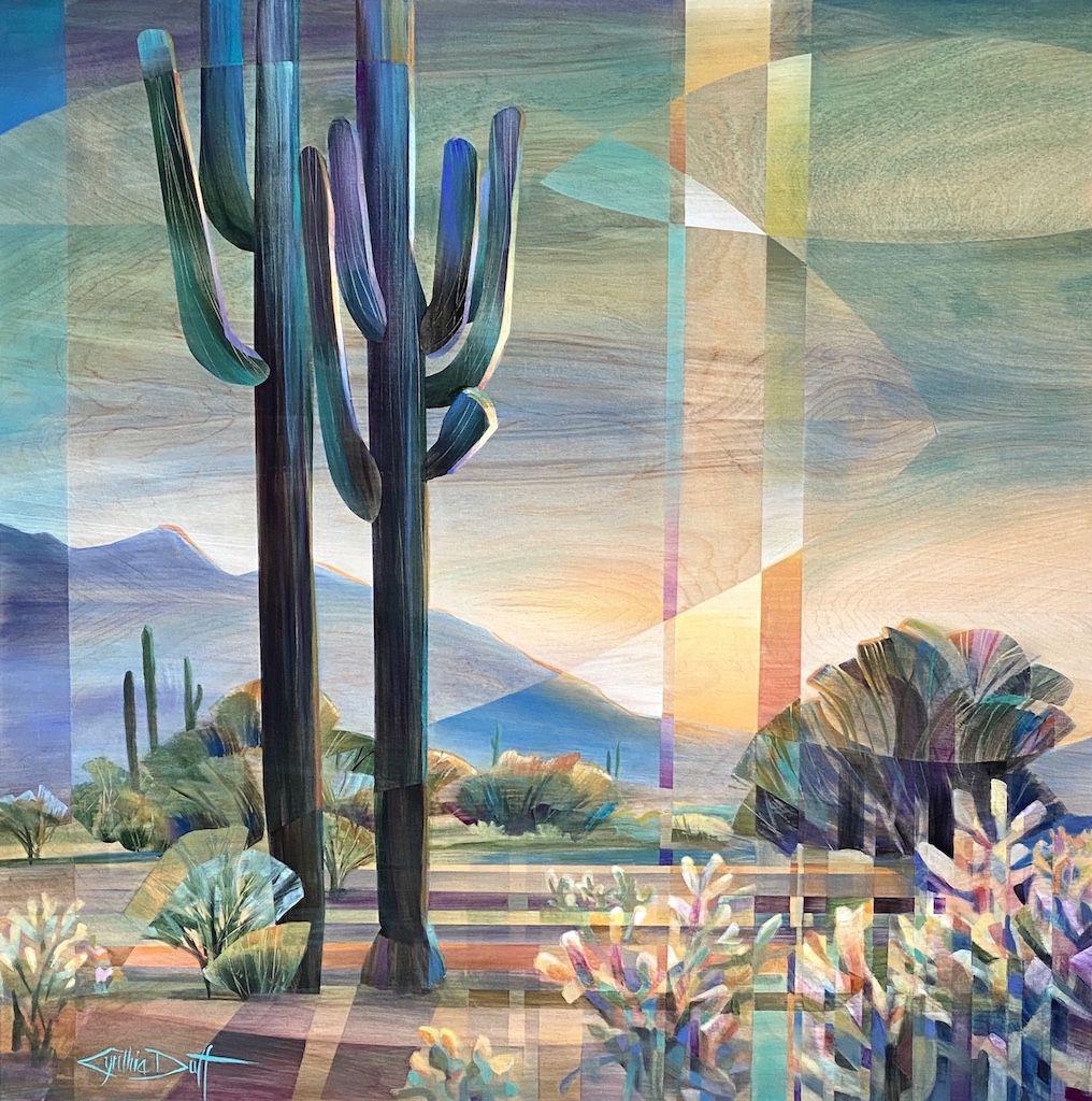 Cynthia Duff, Saguaro Monarch, acrylic on birchwood, 36 x 36.
