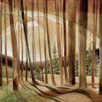 Cynthia Duff, Woodland Aura, acrylic on birchwood, 36 x 48.