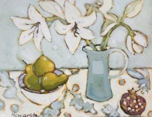 Katrina Howarth, Lilies and Pomegranates, oil, 22 x 26.