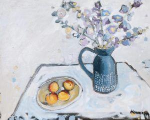 Katrina Howarth, The Peach Table, oil, 24 x 30.