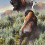 Kyle Sims, Colossal Encounter, oil, 80 x 50.