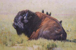 William Alther, Cowbird Social, oil, 12 x 18.