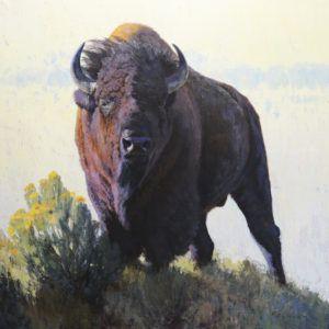 William Alther, Mythic Horizon, oil, 40 x 40.