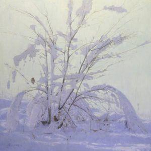William Alther, Winter Arches, oil, 36 x 36.