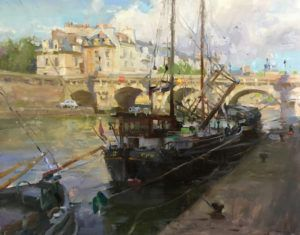 Kyle Ma, Boats at Pont Neuf, oil, 16 x 20.