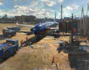 Kyle Ma, Noon at Newark Airport, oil, 14 x 18.
