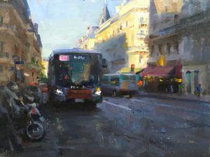 Kyle Ma, Paris Evening, oil, 9 x 12.
