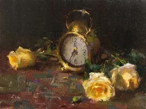 Kyle Ma, Still Life With Antique Clock, oil, 9 x 12.