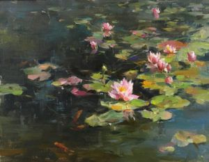 Kyle Ma, Water Lilies in Spring, oil, 11 x 14.