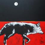 Nocona Burgess, Full Moon Ghost Dog, acrylic, 48 x 48.