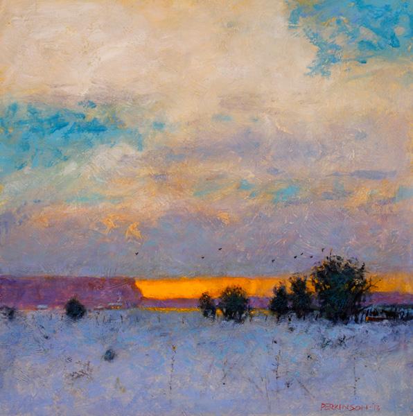 Tom Perkinson, Distant Snowfall, oil, 10 x 10.
